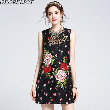 Luxury Sequins Letter Embroidery Runway Dress Brand Fashion 2017 Women Sleeveless Vintage Floral Print Party Dresses Vestidos
