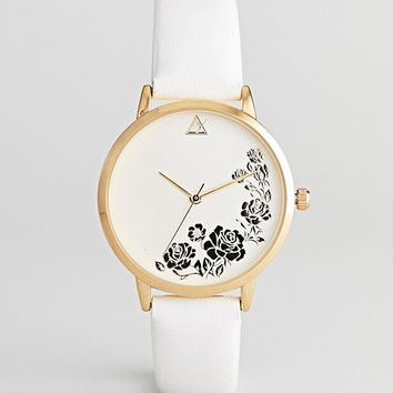 ASOS DESIGN Engraved Floral Watch at asos.com