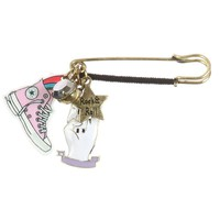 Rock N Roll Charm Safety Pin Brooch Set