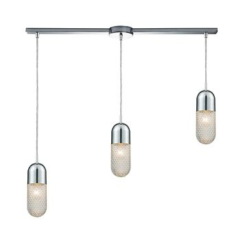 Capsula 3-Light Linear Mini Pendant Fixture in Polished Chrome with Clear Textured Glass