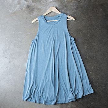 BSIC - sleeveless burnout swingy tank dress - heathered blue
