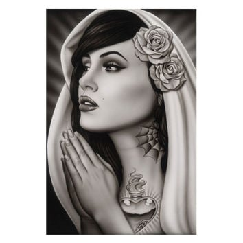 Black Market Art Company Tattooed Mary Art Print by Artist Spider