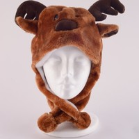 Plush Deer Reindeer Animal Hat High Quality polyester Brand New
