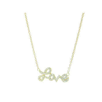 Sterling Silver Cursive Love Zirconia Pendant Necklace 14K Gold-Plated
