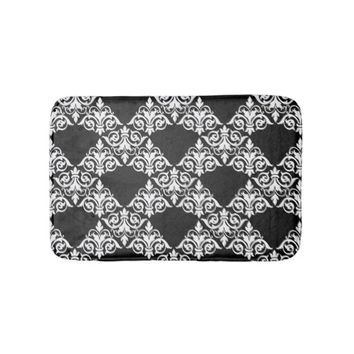 Black and White Damask Lattice Bathmat Bath Mats