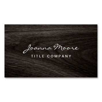 Classy dark oak wood grain professional profile business card