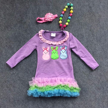 Preorder-Purple Chiffon Ruffle Easter Dress with Embroidered Bunny