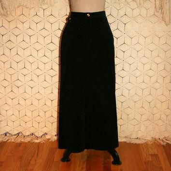 Black Corduroy Skirt Maxi Skirt High Waist Skirt Long Pencil Skirt Casual Black Skirt
