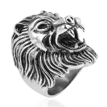Black Oxidized Stainless Steel Lion Head Ring