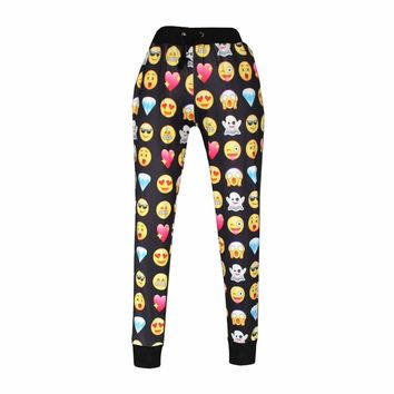 Women Emoji Print Jogging Pants