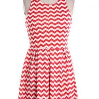 Summer Picnics Chevron Pattern Sleeveless Ponti Dress in Coral Red | Sincerely Sweet Boutique