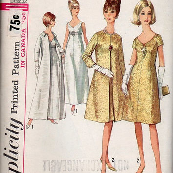 Evening Gown Cocktail Dress 1960s Style Simplicity Sewing Pattern Opera Coat Wedding Bridesmaid Formal Bust 32