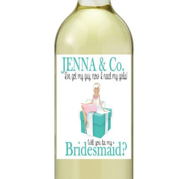Be My Bridesmaid Maid of Honor Wine Bottle LabelsTiffany Box Customized Personalized Set of 4
