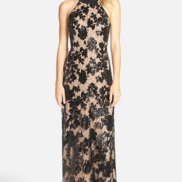 Women's Dress the Population 'Valentina' Lace Halter Gown,