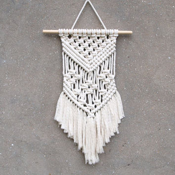 Wall hanging 14 inches Small macrame wall hanging Tapestry Boho interior design Handmade wall decor Weaving wall art Wite tapestry Bedroom
