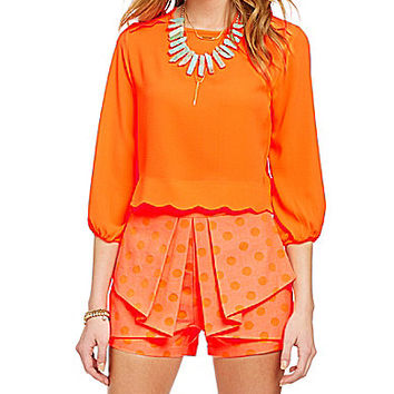 GB 3/4-Sleeve Scalloped Top - Orange M