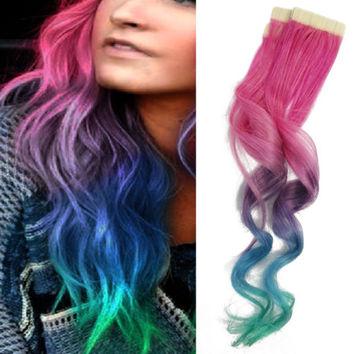 20x Tape in Skin Ombre Human Hair Extensions Pink Lavender Purple Blue Teal