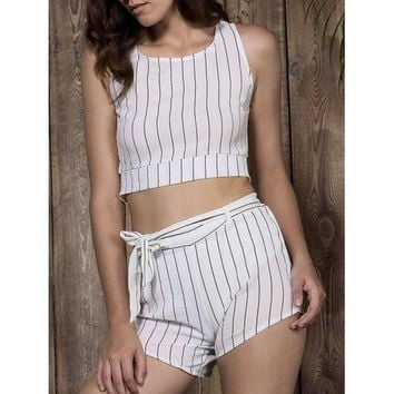Stylish Scoop Neck Striped Crop Top + Shorts Twinset For Women
