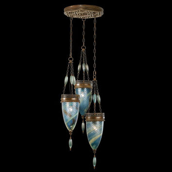 Fine Art Lamps 608640-3ST Scheherazade Three-Light Pendant in Aged Dark Bronze Finish and Hand Blown Glass in Vibrant Desert Sky Blue Color