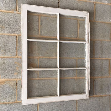 Vintage 6 Pane Window Frame - White, 36 x 27,  Rustic, Wedding, Beach Decor, Photos, Pictures, Engagement, Holiday, Christmas, Wall  Art