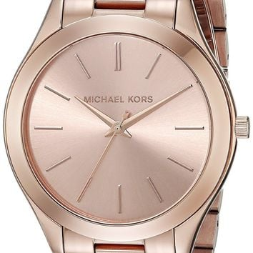 Michael Kors Mid-Size Rose Goldtone Stainless Steel Slim Runway Three-Hand Watch