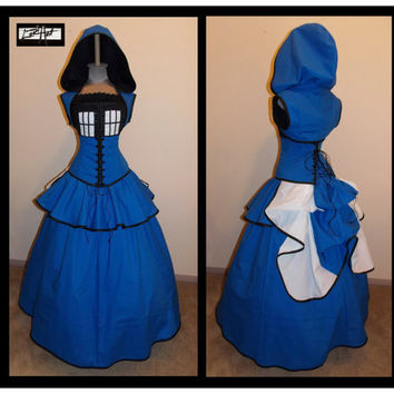 TARDIS   Blue Black and White Full Bustle Gown by loriann37