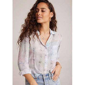 Rounded Hem Pastel Button Down