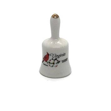Virginia Souvenir Miniature Bell Thimble Sized State Flower Dogwood and State Bird Cardinal Tiny Bell