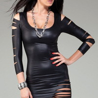Dear Lover Matte Black Cut Out Long Sleeved Sexy Club Dress