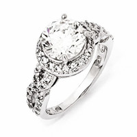 Sterling Silver CZ Halo Twist Ring