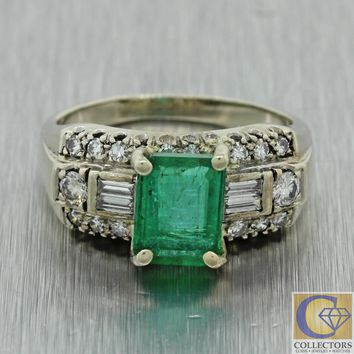 1930s Antique Art Deco 14k Solid White Gold Diamond Emerald Cluster Ring