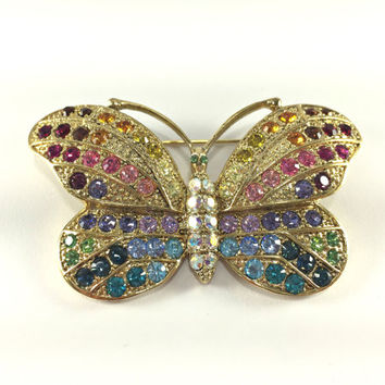 Butterfly Statement Brooch Whimsical Figural Rainbow Rhinestones Kirks Folly Designer Jewelry Gardener Gift Moth Butterfly Pin Gay Pride