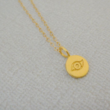 Small Gold Evil Eye Necklace, Vermeil  Evil Eye Necklace, Dainty Everyday Necklace, Good Luck Talisman, Protection Necklace