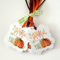 So Thankful For You Pumpkin Tags - Thanksgiving Favor Tags - Set of 24