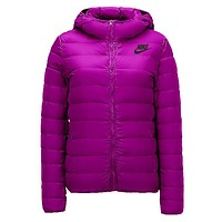 Nike Classic Popular Women Leisure Print Hooded Eider Down Cardigan Jacket Coat Windbreaker Purple