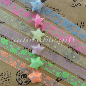 Star Origami Paper /Lucky Star Assorted / Favour Strips 2 Colors Mixed /Glow in Dark Rose Pattern 60 Stripes