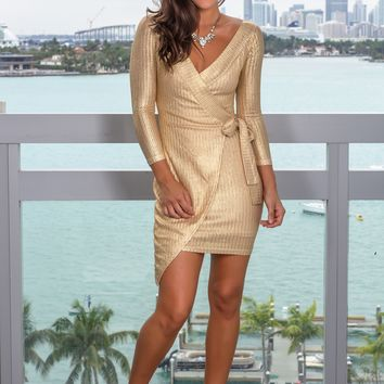 Gold Long Sleeve Short Dress