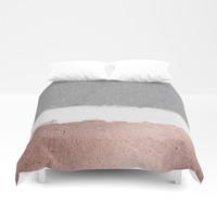 Concrete and rose gold Duvet Cover by Printapix