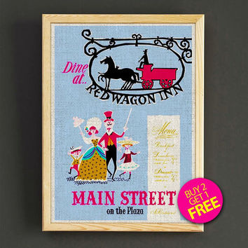 Vintage Disneyland Attraction Poster Main Street Dine at Red Wagon Print Home Wall Decor Gift Linen Print - Buy 2 Get 1 FREE - 348s2g
