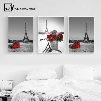 Paris Eiffel Tower Red Rose Flower Landacape Posters and Prints Wall Art Canvas Painting Black White Picture Modern Home Decor
