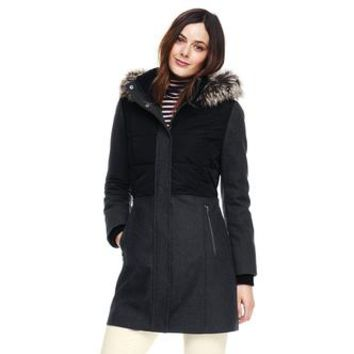 Lands' End Lands' End Women's Hybrid Coat Faux Fur