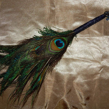Feather Besom Broom or Smudge Wand - Peacock Feathers w/ Genuine Garnet - Wiccan Besom - Occult Tools - Altar Tools - Decorative Broom