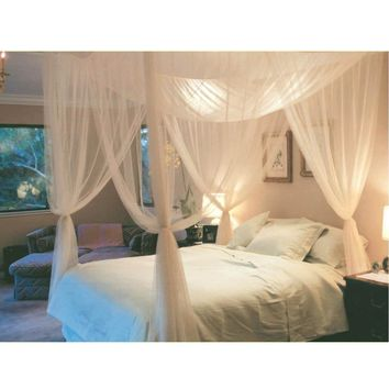 Cool White Three Door Princess Mosquito Net Double Bed Curtains Sleeping Curtain Bed Canopy Net Full Queen King Size Net26AT_93_12