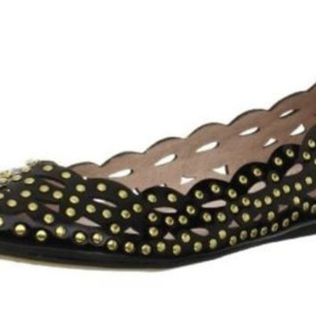 Vince Camuto Tamma Black Patent Leather with Metal Rivets Ballerina Flats Women'