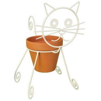 Panacea™ 86665 Cat Design Planter Pot Holder, White, Powder Coated Steel