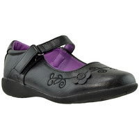 Kids Dress Shoes Mary Jane Flower Accent Closed Toe Shoes Black