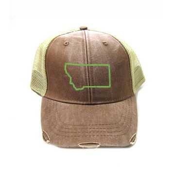 Montana Hat - Distressed Snapback Trucker Hat - Montana State Outline - Many Colors Available