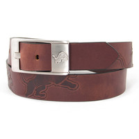 Detroit Lions NFL Men's Embossed Leather Belt (Size 34)
