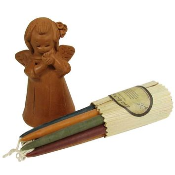 Blushing Angel Terracotta Candleholder with 10 Hand-dipped Candles
