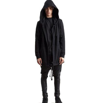 Men Hooded Jacket Long Cardigan Slim Black Goth Gothic Punk Hoodie Streetwear